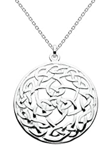 """Heritage Womens Silver Plated Celtic Large Round Knotwork Necklace SP92818HP, 18"""""""