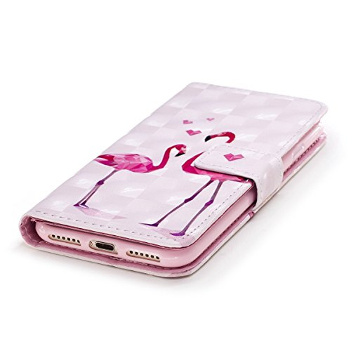 Cover iPhone 7, Custodia iPhone 8, Cover Flip Portafoglio in Pelle + Case in Silicone TPU Morbido, Surakey 2 in 1 Cassa del Telefono [Elegante Wallet con Porta Carte] Custodia a Libro Chiusa Magnetica Flamingo