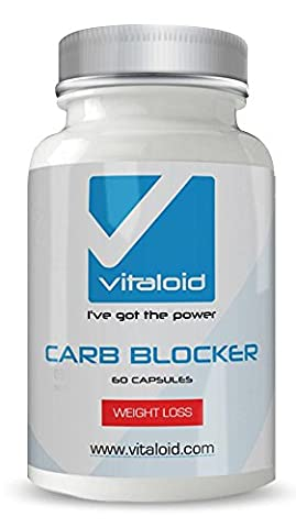 Carb Blocker Vitaloid - #1 Carb Blocker White Kidney Bean Extract - White Kidney Bean Extract & Guarana- 100% Effective and Optimized for Weight Loss - Carb Blocker Weight Loss Aid and Diet Pill Inhibits the Absorption of Carbs and Fats, Suppresses Appetite, and Provides a Feeling Of Fullness All Day and Night. Diet Pill and Appetite Suppressant, Maximum Strength for Weight Loss, Boosts Metabolism. A Carb Blocker that Helps You Burn Fat & Lose Weight Fast