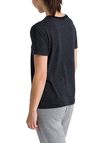 Bench Damen T-Shirt Logo Tee Stripes Schwarz (Black Beauty + Metallic Stripe P1282)