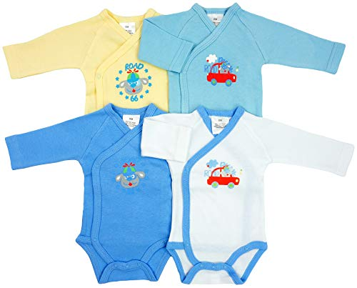 *4er Pack Baby Jungen Bodys Wickelbodys Langarm Road Gr. 56 (1M)*