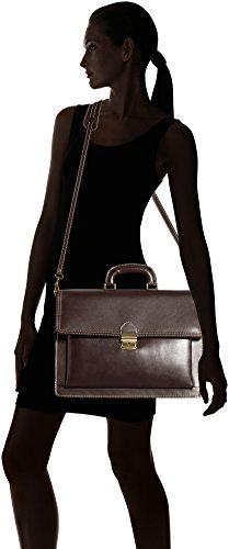 CTM Herren Organizer-Tasche, 41x31x18cm, 100% echtes Leder Made in Italy Braun (Marrone Scuro)