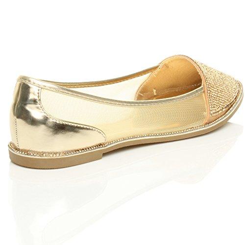 Donna piatto scarpe a punta strass bordo tulle ballerine scarpette taglia Oro Tulle