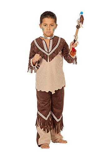 Karneval Indian Kostüm West - Jannes - Indianer Kostüm Jungen Braun mit Fransen 116