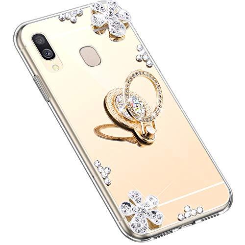 Uposao Kompatibel mit Samsung Galaxy A40 Hülle Silikon Spiegel Handyhülle Schutzhülle mit 360 Grad Ring Ständer Glitzer Kristall Strass Diamant Mädchen Handy Tasche Silikon Hülle Case,Gold