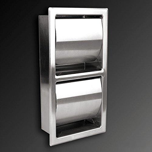 Toilettenpapierhalter aus hochwertigem Edelstahl, ! Matt !, Unterputzeinbau, platzsparend, Senkrechter Twin, mit Doppelhalter