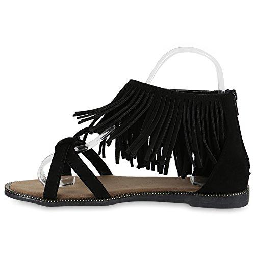 Damen Sandalen Fransen | Glitzer Schuhe Quasten | Metallic Flats Schnallen | Riemchensandalen Damenschuhe Velours Schwarz Fransen