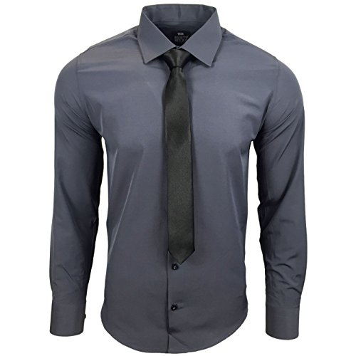 R 55da uomo KR Business camicia con cravatta Antracite