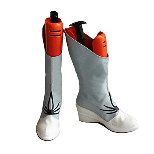 Weiss Stiefel Schnee Cosplay Schuhe PU-Leder Keilabsatz Boots Anime Kostüm Zubehör Requisiten für Damen Halloween