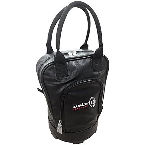 Asbri Golf - Bolsa de piel para bolas de golf, color negro