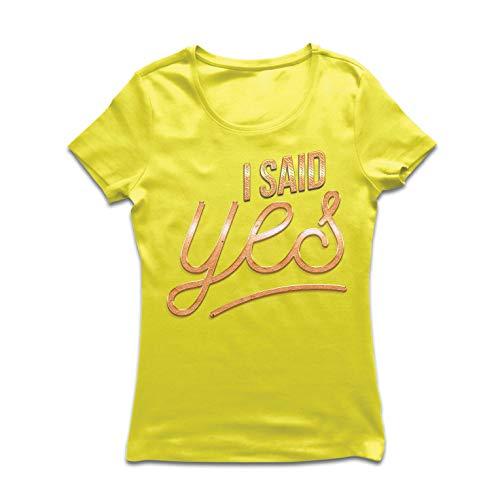 (lepni.me Frauen T-Shirt Ich sagte Ja, gerade verlobt, Hochzeitsgeschenk (Small Gelb Mehrfarben))