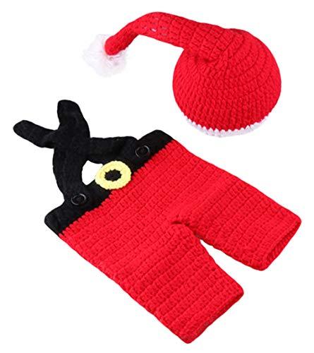 Santa Einzigartige Kostüm - DEMU Baby Neugeborenen Fotografie Requisiten Handgemachte Häkeln Strickmütze Santa Claus Kostüm Mütze Latzhose 0-3 Monate