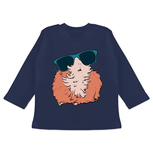 Tiermotive Baby - Meerschweinchen mit Sonnenbrille - 6-12 Monate - Navy Blau - BZ11 - Baby T-Shirt Langarm