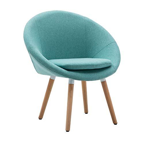 Esszimmerstühle YXX Gepolsterter massivem Holz mit Kissen, Loungesessel mit Armlehne aus Holz für Office Meetting (Farbe : Blau, größe : Set of 6)