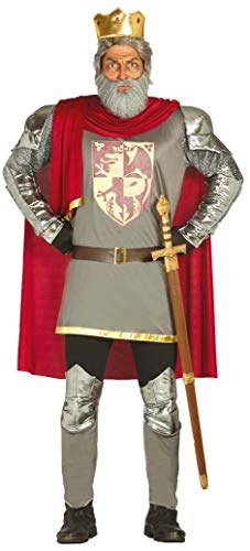 König Kostüm Löwenherz Richard - Herren mittelalterlich König Richard I Englisch Monarch Löwenherz Royalty historisch Kostüm Kleid Outfit - grau, Large