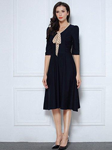 Miusol Damen V-Ausschnitt Schleife Cocktailkleid Faltenrock 50er 60er Jahr Party Stretch?Kleid Blau Gr.L - 5
