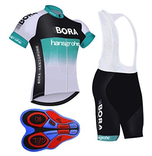 HnjPama Pro Team Unisex Herren Fahrradtrikot Anzug Trägerhose Bambusfaser Fahrradtrikot, Herren, Grün/Weiß, Asia M=US Small -