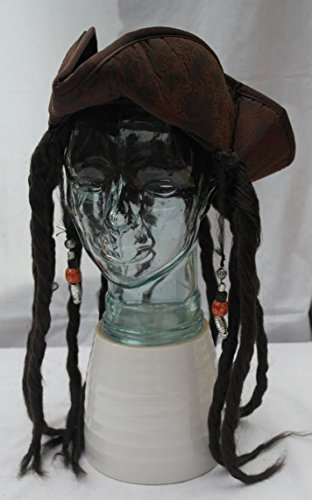 Pirates Hats with Realistic Hair, Pirates of The Curry Bean ? (Hats Jack Sparrow)