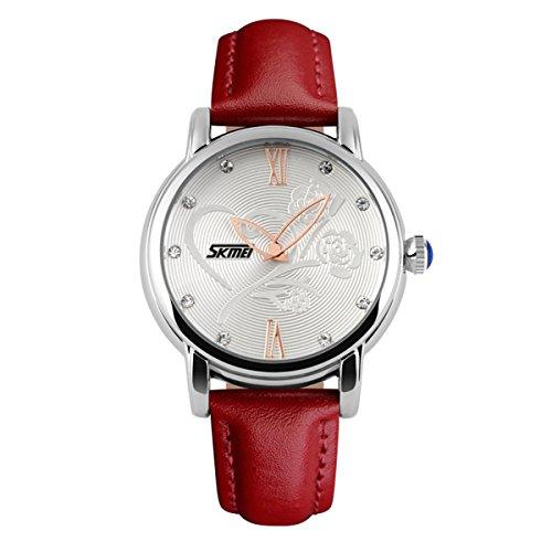 Weinlesefrauen schöne rote Lederarmband Uhr Rose Blume Wahl beliebt noble Uhren für nette Damen