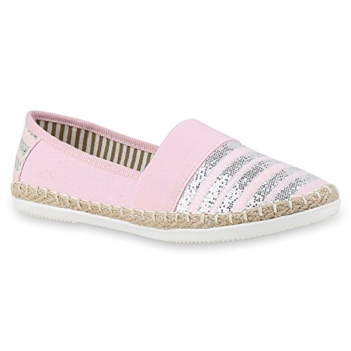 Damen Espadrilles Bast Slipper Glitzer Streifen Sommer Schuhe Rosa