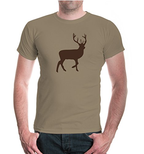 buXsbaum® Herren Unisex Kurzarm T-Shirt bedruckt Rothirsch | Jagd Rotwild Jäger | XL khaki-brown Beige