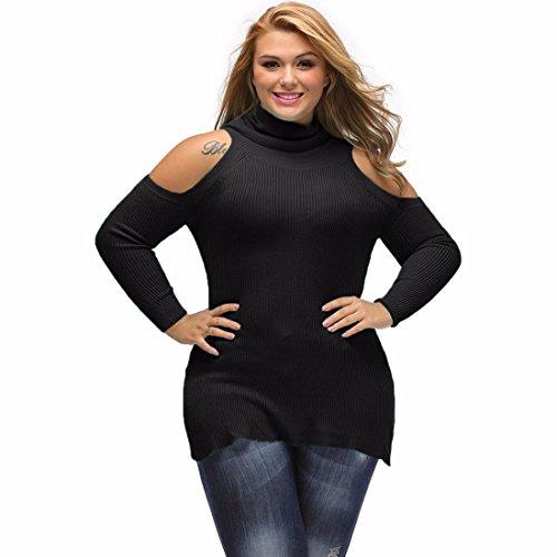 Tortue Haute Cou Récolte Épaule Froide Tricoté Bodycon Ajusté Pull Chandail Sweater Noir