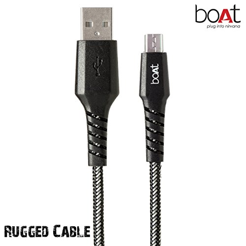 boAt Rugged Extra Tough Unbreakable Braided Micro Usb 1.5 Meter cable.Super-Fast 2.4A Rapid Charge, boAt tangle free Supports all micro USB devices. (V2)