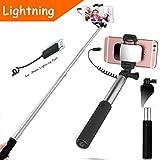 YooGoal Selfie Stick Lightning Cable Conector Wire Control (NO Bluetooth) Monopod compacto y portátil con espejo Compatible con iPhone X 8 8Plus 7 7Plus 6 6S Plus SE 5 5S - Silver