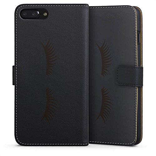 Apple iPhone 7 Plus Silikon Hülle Case Schutzhülle Lashes Wimpern ohne Hintergrund Sideflip Tasche schwarz
