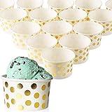 Bicchieri di carta usa e getta per gelato, 50 pezzi, per dessert, gelato, yogurt, feste - Colore:  Pois dorati, da 236 ml.