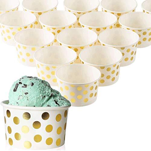 - 50 Stück Einweg-Papier Dessert Eis Joghurt Schalen Party Supplies, Gold Polka Dots, 227 ml ()