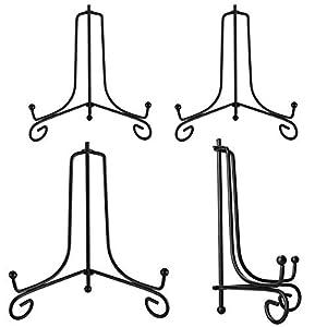 MELLIEX 4 Stück Eisen Tellerständer, 4 Zoll und 6 Zoll Tellerhalter Aufsteller Staffelei Ständer Bilderständer für Sammelteller, Bücher, Teller, DVD,Bild (Schwarz)