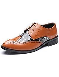 LEDLFIE Chaussures en Cuir pour Hommes Souliers Respirants pour Hommes,Brown-38