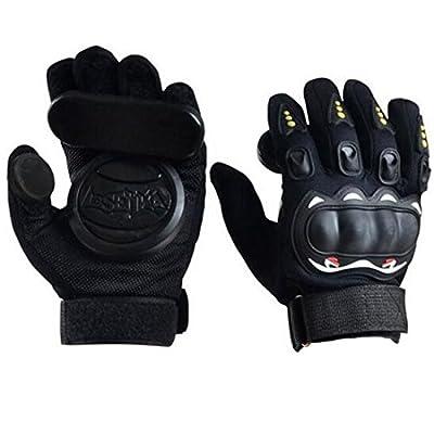 Seroda Longboard Downhill Slide Handschuhe Skate Handschuhe mit austauschbare drei Slider (Black)