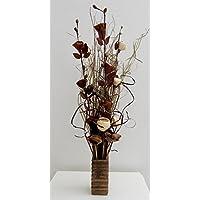 Arrangement floral exotique avec fleurs faites à la main et plantes indiennes séchées, couleur crème et chocolat Vase en bois inclus. Hauteur: 85 cm.