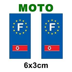 Autocollant plaque immatriculation drapeau coree du nord Moto