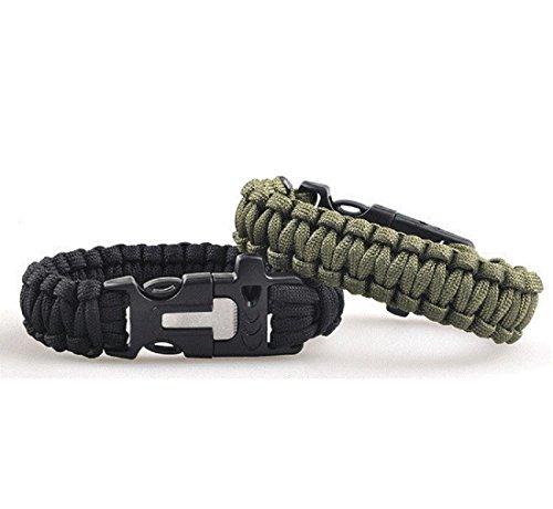 Lot de 2, Bracelet de Survie Multifonction Paracorde Bracelet Corde avec Sifflet, Allume-feu, pour Femme Homme