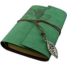 Estilo vintage hoja hojas patrón PU cubierta Notebook viaje diario diario tamaño L (verde)