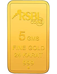 RSBL  5 gm, 24k (999) Yellow Gold Ecoins Precious Bar