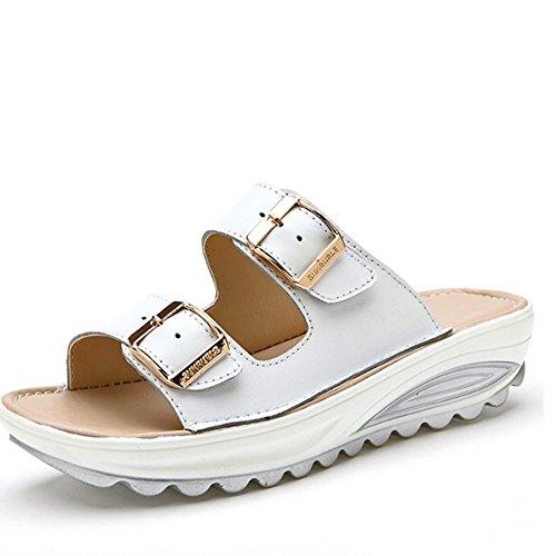 Confortevole Pattini di cuoio esterni esterni di estate Pattini di spessore dei sandali Antiscivolo con i pattini piani (4 colori facoltativi) (formato facoltativo) È aumentato ( Colore : B , dimensio A