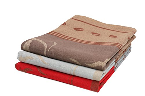 Zollner 3er-Set Geschirrtücher aus Baumwolle, Cappuccino, rot und hellgrau, 50x70 cm
