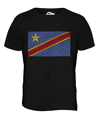 CandyMix Demokratische Republik Kongo Kritzelte Flagge Herren T Shirt Schwarz