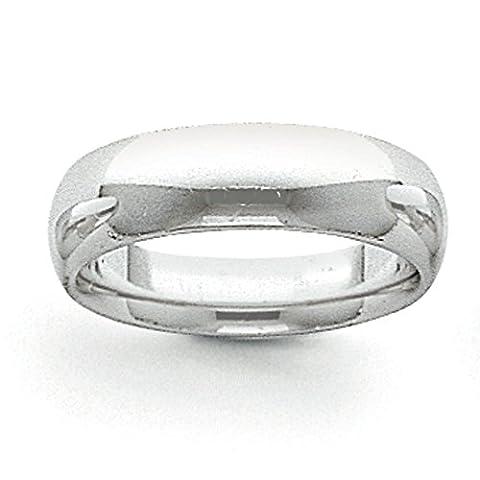 14ct Gold 6mm weiß halbrund Comfort Fit leicht Band Ring–Größe L 1/2