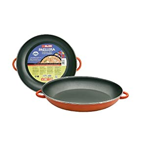 IBILI Paella pan with Metallic Handles 38 cm of Enamelled Steel, Stainless, Orange/Black, 38 x 38 x 6 cm