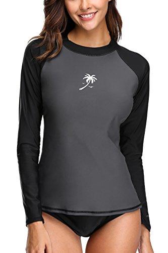 Attraco Damen Surf Shirt UV-Schutz Langarm Shirt Rash Gaurd Oberteil UPF 50+ Farbe: Grau-Schwarz, Gr. XL