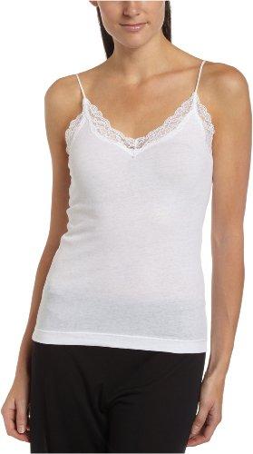 Only Hearts Damen-T-Shirt, Bio-Baumwolle, mit Spitzenbesatz, verstellbar - Weiß - Mittel - Weiße Spitzenbesatz Leibchen