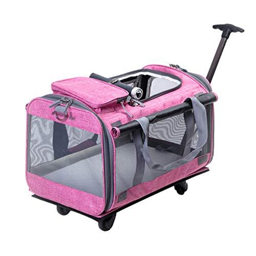 YiiJee Trasportino per Animali Domestici Carrello Confortevole per Cani e Gatti Trolley Zaino per Viaggio in Treno e Aereo (Rosa, Taglia Unica)