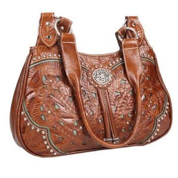 American West Dame Lace Drei Fach Tote Handtasche braunes Leder (West Handtasche American)