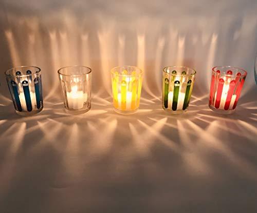 CIERGERIE DU SUD-EST - Barquette De 6 Verres d'Illumination - Extérieur Intérieur - Décoratif - 19 cm * 12 cm * 9 cm - Verres Colorés Assortis / Rouge / Jaune / Bleu / Vert / Transparent
