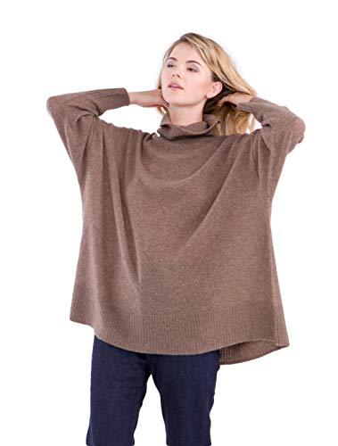 Cashmere 4 u jumper pullover dolcevita oversize 100% cashmere per donne (marrone)